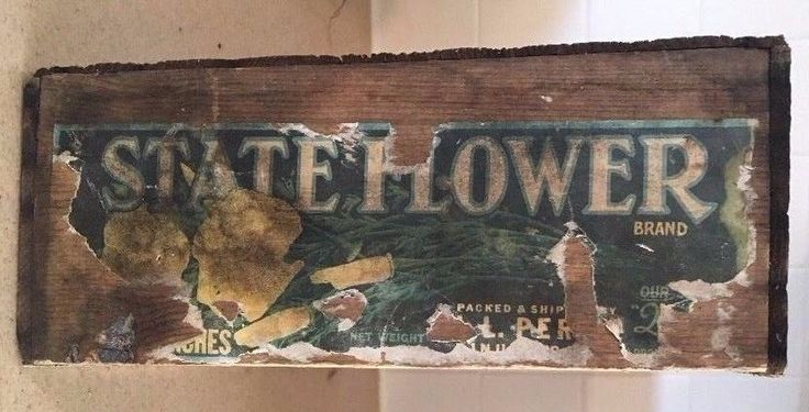 Antique Wooden State Flower Perry Fruit Company Shipping Crate Dinuba CA Leonard  | eBay