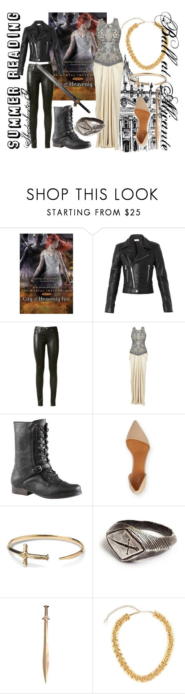"""Bookish Fashion: City of Heavenly Fire"" by readingupwiththejoneses ❤ liked on Polyvore featuring Balenciaga, Yves Saint Laurent, TOMS, Alice Menter, wings, summerreading, sword and cohf"