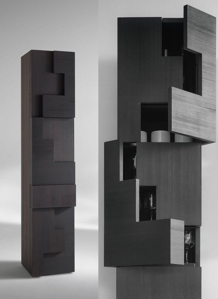Mobile contenitore a colonna in legno di larice spazzolato Azalea By Viadurini Collezione Living. [www.viadurini.it]