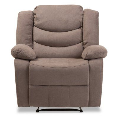 Baxton Studio Lynette Modern/Contemporary Fabric Power Recliner Chair Taupe - U1294X-TAUPE-RECLINER