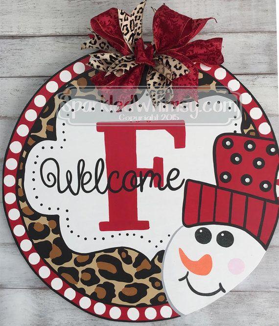 Winter Door Hanger: Monogrammed Leopard Print by SparkledWhimsy door decor door decoration door hanger christmas sign christmas door decor winter sign christmas christmas door monogram door hanger snowman winter door snowman door hanger leopard print