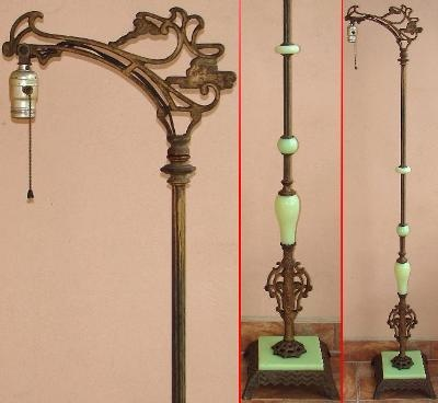 Antique 1920s Bent Bridge Floor Lamp W Jadeite Green Glass Art