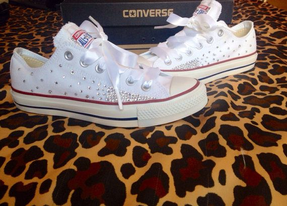 Ombré Effect Rhinestone Converse with Ribbon Laces    Made To Order  Message me your shoe information (desired shoe color, size, and ribbon