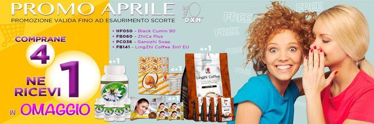 PROMO APRILE 4 + 1 A grande richiesta torna la Promo Acquista 4 prodotti 1 è OMAGGIO! 5 confezioni di Black Cumin 90 caps. al prezzo di 4 5 pacchi ZhiCa plus confetti plus confetti al prezzo di 4 5 Ganozhi Soap al prezzo di 4 5 LinghZhi coffee 3 in 1 EU al prezzo di 4 Registrati e acquistali su http://www.dxn2u.eu/pws/6rjpQd