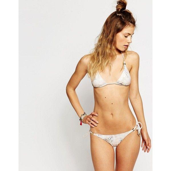 Melissa Odabash Triangle Bikini Set In Lizard print ($127) ❤ liked on Polyvore featuring swimwear, bikinis, beige, bikini swim wear, swim swimwear, bikini two piece, swimming bikini and swim bikini