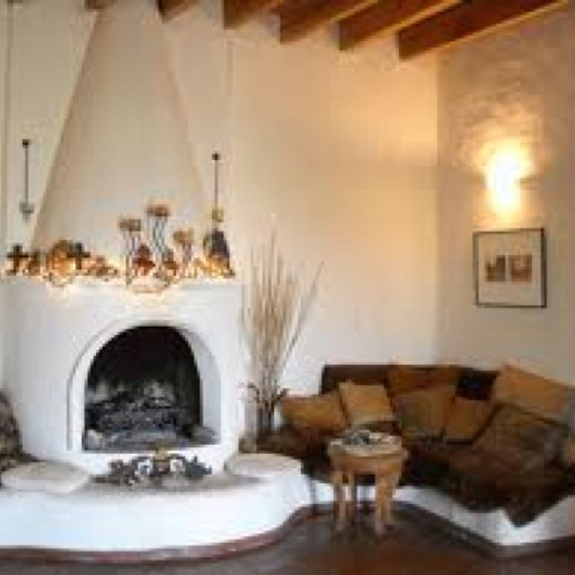 Interior of earthbag home - fireplace