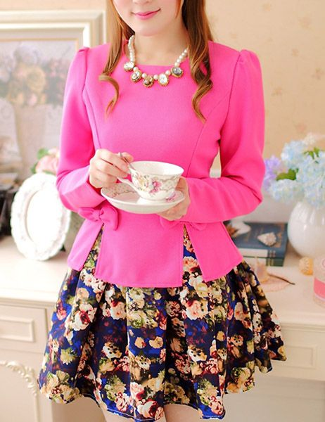 In stock $18.51 Wholesale Cute Style Round Collar Bow Tie Embellished Zipper Design Floral Print Pleated Dress For Women (ROSE MADDER,S), Long Sleeve Dresse...