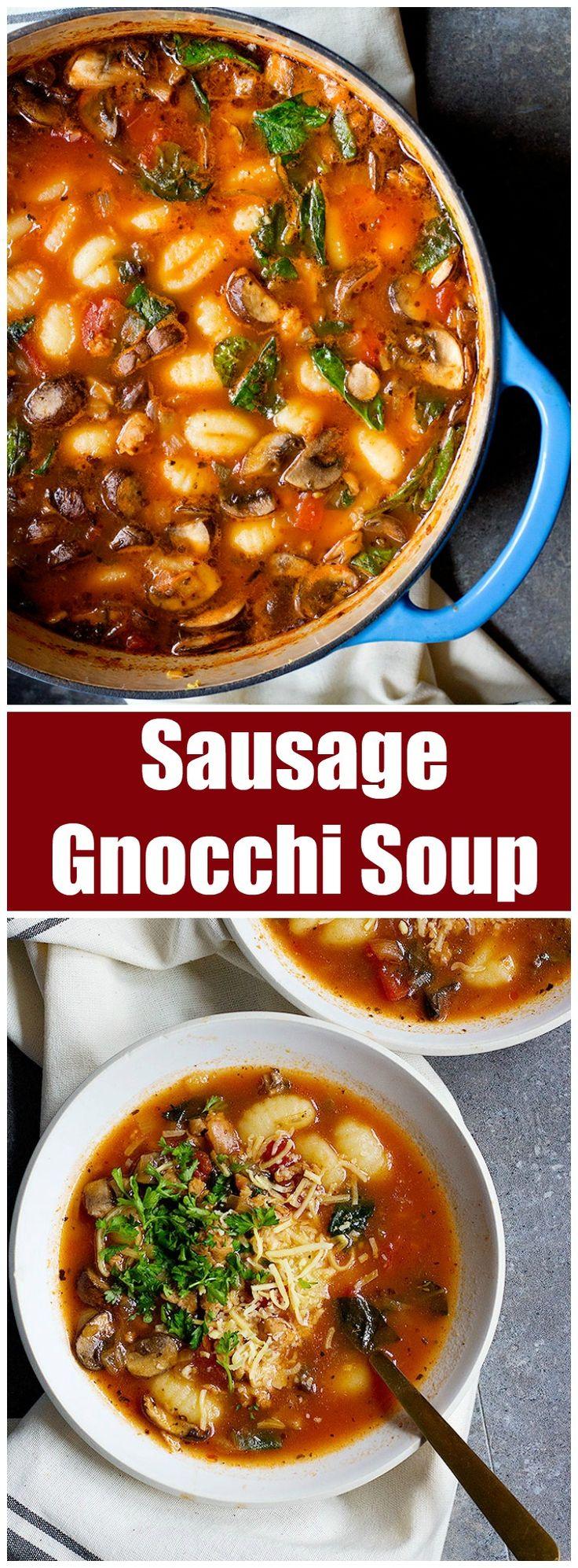 Sausage Gnocchi Soup | Unicornsinthekitchen.com
