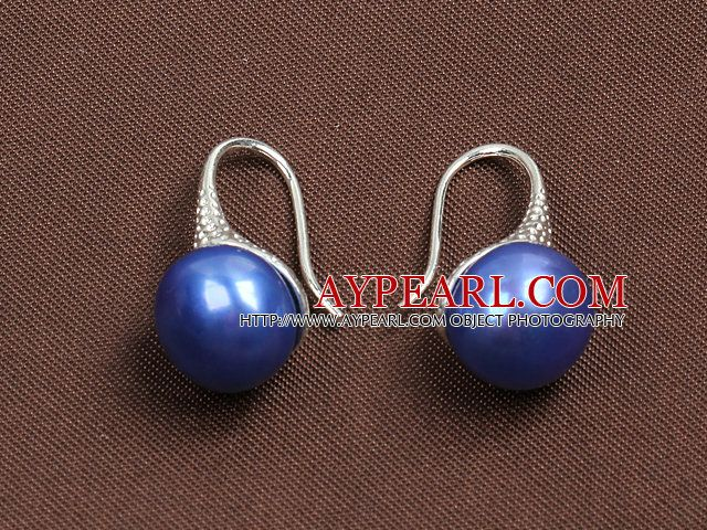 Simple Style Natural Sapphire Blue Freshwater Pearl Earrings