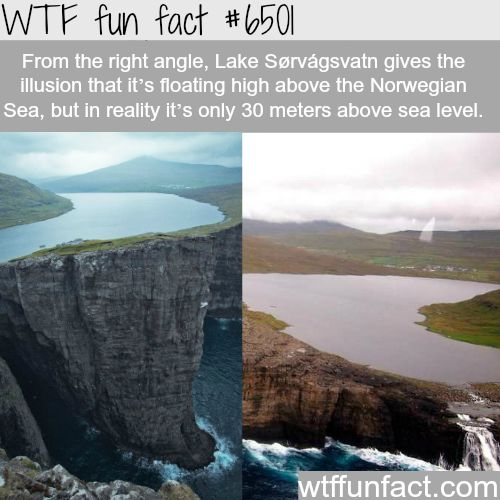 Lake Sørvágsvatn - WTF fun facts - http://thisissnews.com/lake-sa%c2%b8rvagsvatn-wtf-fun-facts-15/
