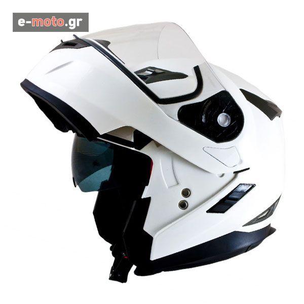 Κράνος Ανοιγόμενο MT Helmets Flux με Εσωτερική Φιμέ Ζελατίνα Λευκό
