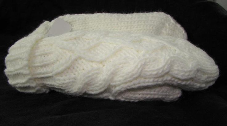 Women Chunky Cable Knit White Mitts Mittens Ultra Soft Fleece Lined NEW NWT #Simi #Mittens