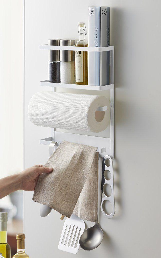 Plate Magnetic Kitchen Organization Rack in White design by Yamazaki