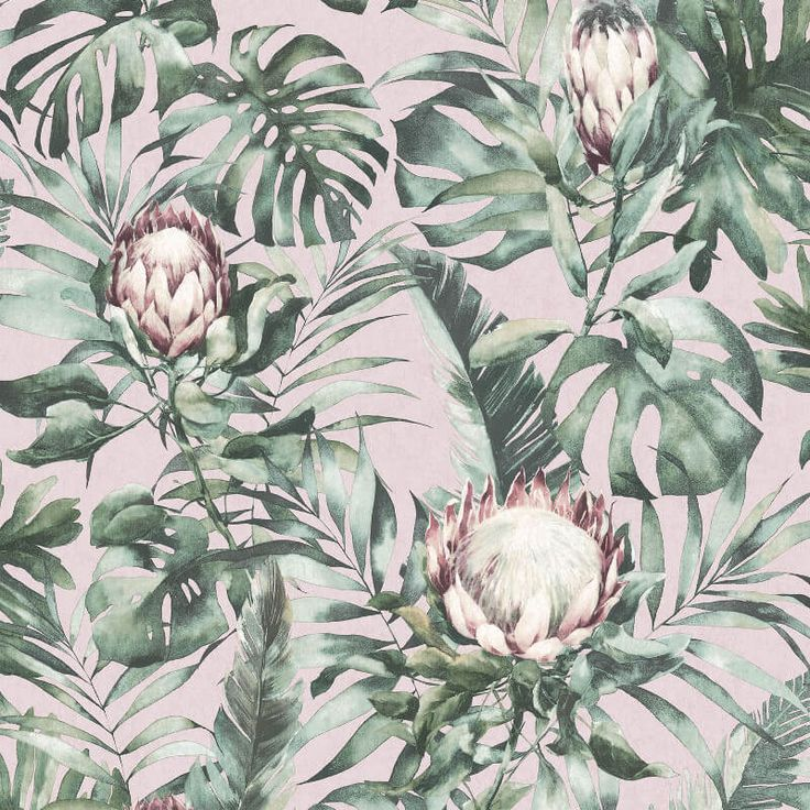 Holden Decor Protea Floral Dusty Pink Wallpaper 90060 in