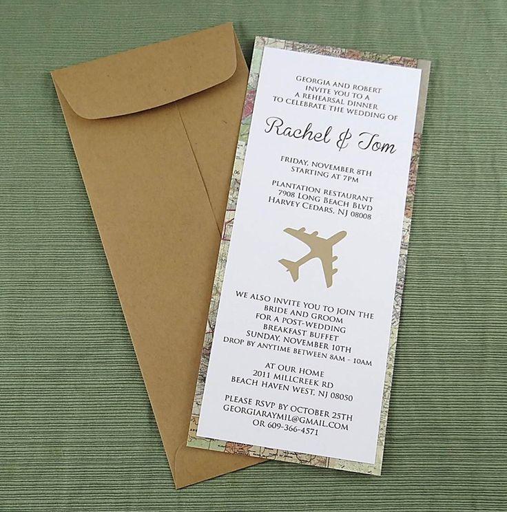 Travel Map Invitation - Travel theme wedding - Rehearsal Dinner - Bridal Shower by CordiallyInvitedShop on Etsy https://www.etsy.com/listing/218139027/travel-map-invitation-travel-theme