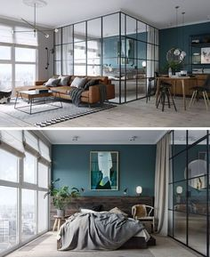 In this small and modern apartment, the bedroom has a deep teal and wood accent wall providing the perfect backdrop for the artwork and bed, while black framed glass walls separate the bedroom from the living and dining area and allow the light from the windows to travel throughout the small apartment. At night, blinds and curtains can be drawn to provide privacy.