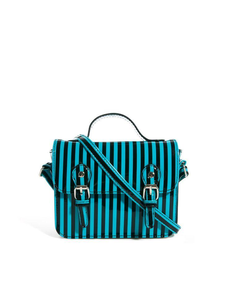 Mała torebka w paski niebiesko-czarne - ASOS Mini Satchel Bag With Buckles