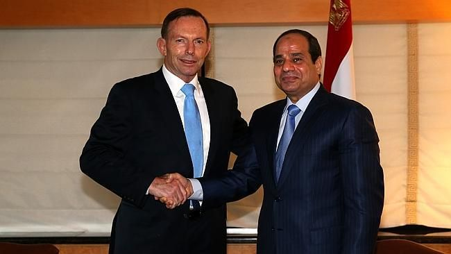 PM Tony Abbott and Egyptian President Abdel Fattah el-Sisi.