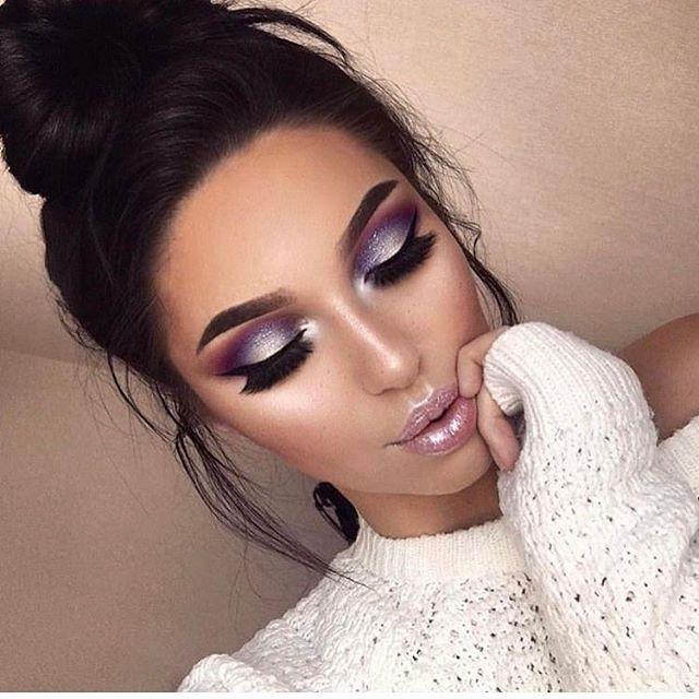 Glamorous Dramatic Makeup Purple Shimmer Eye Shadow Pink Lip