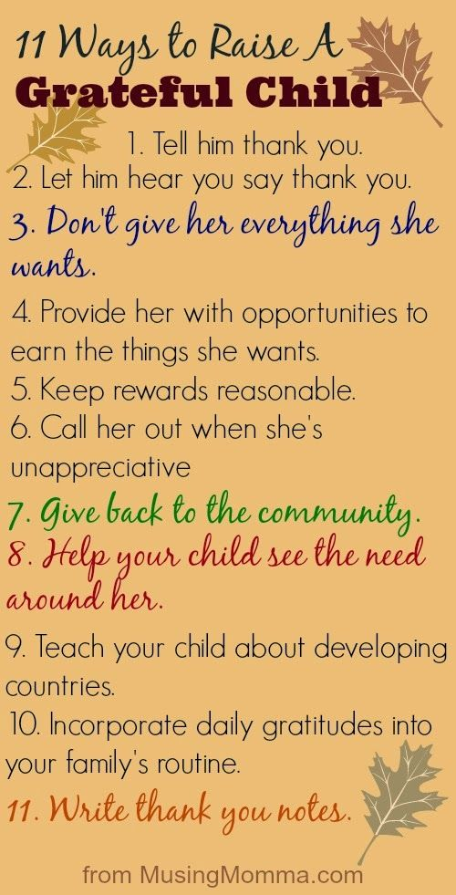 I just love this list of 11 things to inspire gratitude in our kids. Thank you @Ellie C :) Musing Momma: 11 Ways To Raise A Grateful Child