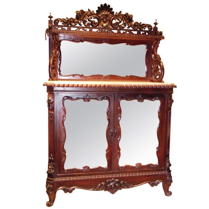American Rosewood Rococo Revival MarbleTop Cabinet