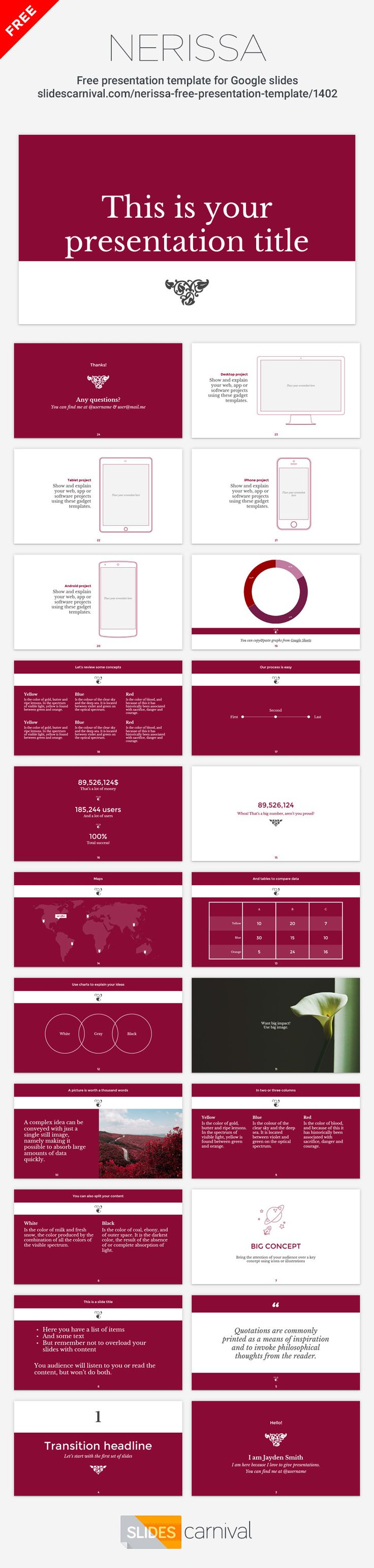 84 best free presentation templates images on pinterest nerissa is a classic and elegant free presentation template the serif typography the sober toneelgroepblik Choice Image
