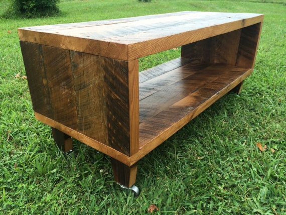 """Reclaimed Wood TV Stand Made With Rustic Barn Wood  - Solid Oak W/ 8"""" Hairpin legs."""