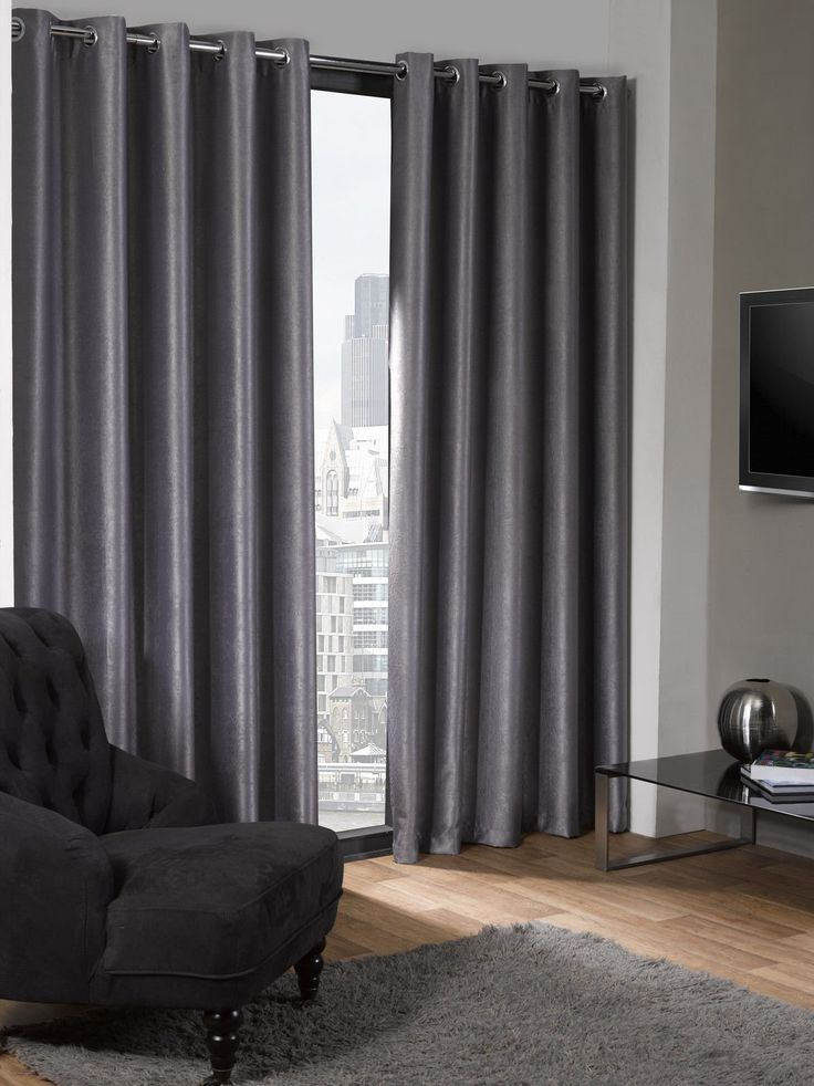 "Lagon Eyelet Grey Silver Curtains Grey blackout Thermal Plain Curtains Ring Top With Eyelets 90 x 90"""
