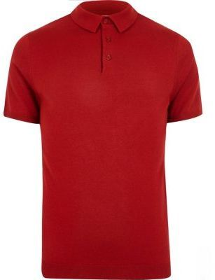 River Island Mens Red polo shirt