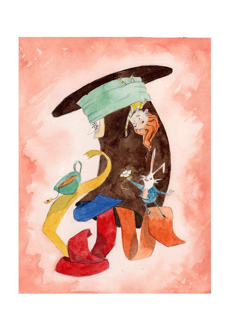 Viaggiare a cappello! by IreneMontano on DeviantArt #childrensillustration #hut #teatime #travel #madasahatter .