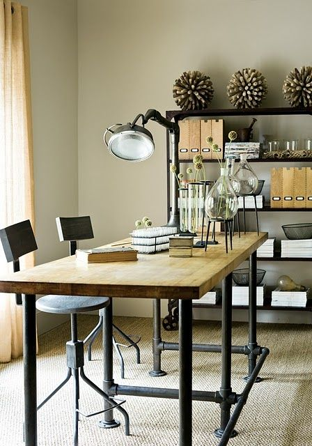 Industrial rustic office, simple wood desk with iron legs