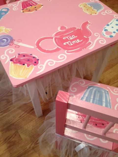 Childrens Princess Tea Party Table Chair Set Tulle Pink Custome Girls Kids  Cupcake Birthday Ribbon.