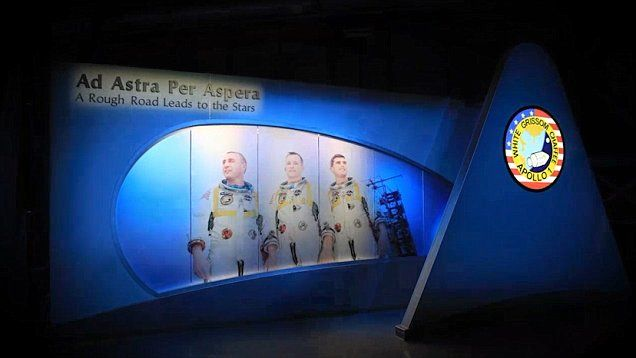Kennedy Space Center opens its new exhibit on the Apollo 1 crew Gus Grissom, Ed White II and Roger Chaffee.