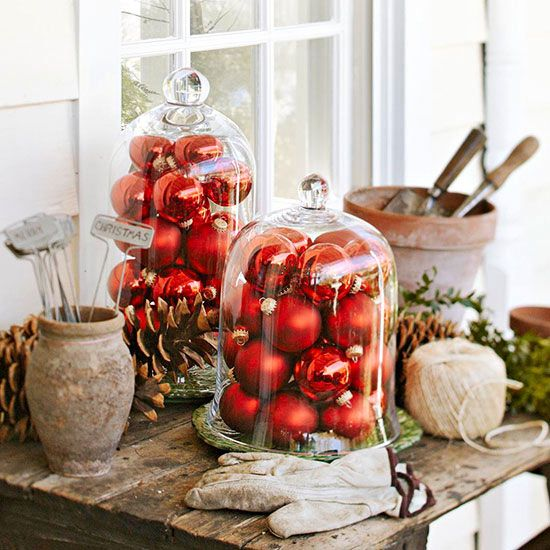 Outdoor holiday decorating often involves clever use of items you already have on hand.