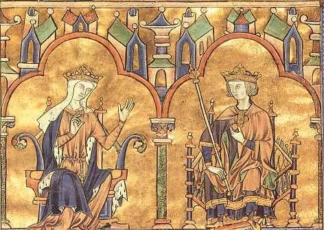 Blanche de Castille , épouse de Louis VIII Le Lion, et son fils Saint Louis (Bible de Saint Louis, Tolède).- La guerre, qui semblait prête à éclater en 1226, fut arrêtée en 1227 par l'attitude énergique de Blanche de Castille et les négociations heureuses qu'elle entama à Loudun avec les grands seigneurs poitevins révoltés. Obligé de suivre l'exemple des autres feudataires désunis par l'habileté de la régente Blanche de Castille, le seigneur de Parthenay conclut une trêve avec elle en 1228.