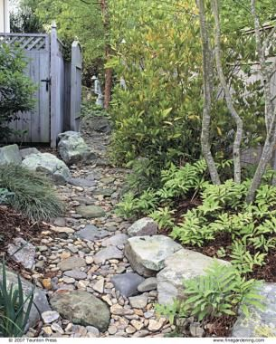 Dry Stream Does Double Duty | Fine Gardening - narrow side garden