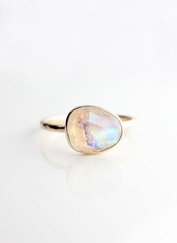 Rainbow moonstone & 14k gold ring moonstone by BelindaSaville