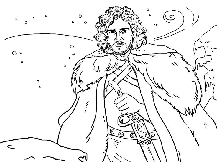 game of thrones colouring in page john snow