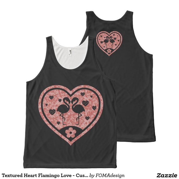 Textured Heart Flamingo Love - Custom Background Color / All-Over Print Tank Top, by FOMAdesign