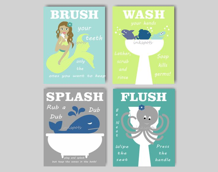 Kids Bath Wall Art Bath Rules Prints Girl Boy by inkspotsgallery
