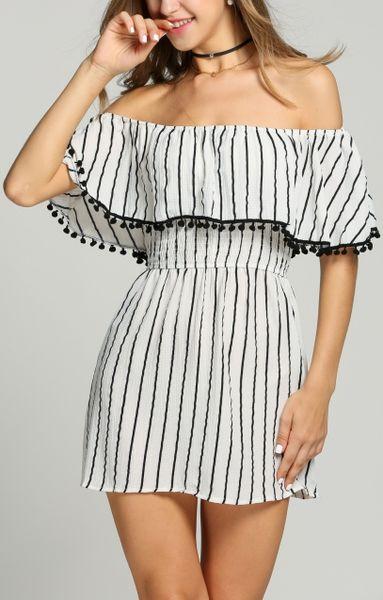Striped Royalty Off-Shoulder Dress