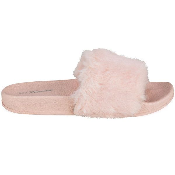Izzy-24 Pink Furry Slide Slip Sandals ($16) ❤ liked on Polyvore featuring shoes, sandals, pink sandals, decorating shoes, embellished shoes, strappy shoes and strap sandals