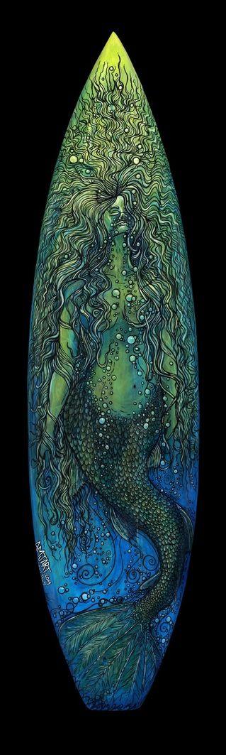 Mermaid: Amj Art, Surfing Boards, Beach Huts, Beaches Hut, Mermaids Surfing, Mermaids Art, Surfboard Art, Boards Art, Mermaids Surfboard