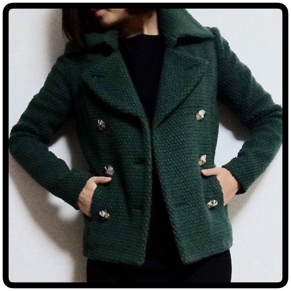 スワロフスキーボタン ショート丈ウールピーコート グリーン_画像1 coat green short wool pea coat womans ladies fashion Swarovski button jacket