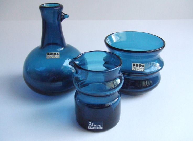 Bertil Vallien for Boda Åfors Bruk - 3 pieces blue decorative glass tableware, 1955-1960 , Sweden. by SCALDESIGN on Etsy