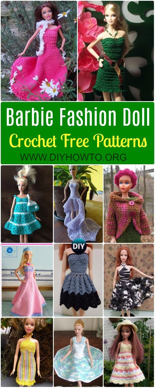 Collection of Crochet Barbie Fashion Doll Clothes Outfits Free Patterns: Crochet Barbie Doll Dress, Night Gown, Doll Vest, Cape, Day Dress, Sun Dress, Cocktail Dress via @diyhowto