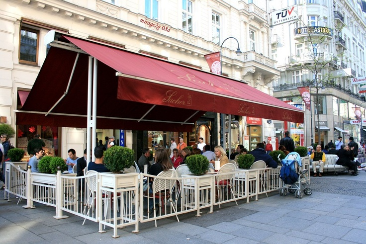The Sacher Hotel, Vienna, Austria - restaurant coffee shop patio - I love this place!