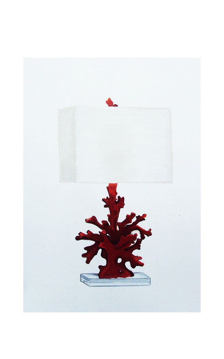 Red coral painting popular red coral print buy cheap red coral print - Red Coral Lamp Drawing