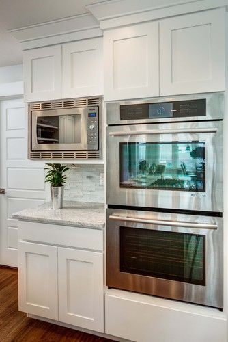 Double Oven Microwave Coffee Bar Area Love It White Kitchen Cabinetskitchen
