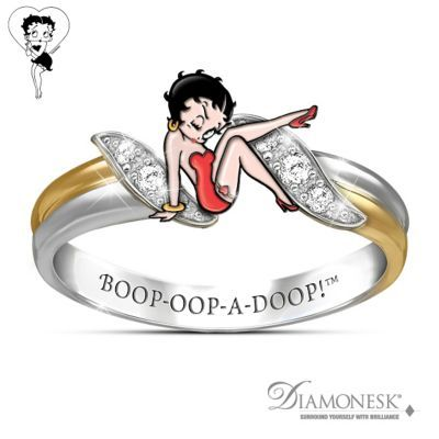 Handcrafted solid sterling silver engraved ring with 18K-gold plating, sculptured enamel Betty Boop™ and Diamonesk® stones. Gift box.